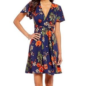 Eva Franco Flutter Sleeve Wrap Dress